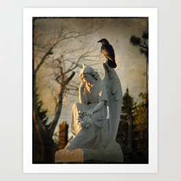 Angel and Crow Art Print