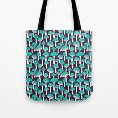 Blue mushrooms field on plum violet Tote Bag