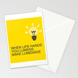 When Life hands you Lumens, make Lumenade! Yellow Light Bulb Stationery Cards