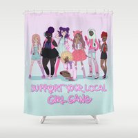 patriarchy Shower Curtains featuring Support your local girl gang by ♡ SUSHICORE ♡
