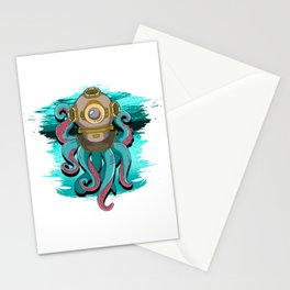 Scuba Diving Octopus Steampunk Stationery Cards