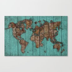 Wood Map Canvas Print
