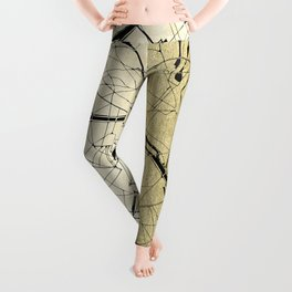 Paris France Minimal Street Map - Gold on Black Leggings