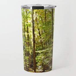 Sunlit Forest in Autumn Travel Mug