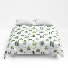 watercolour cacti and succulent Comforters