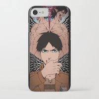shingeki no kyojin iPhone & iPod Cases featuring Shingeki no Kyojin - Eren card by kamikaze43v3r