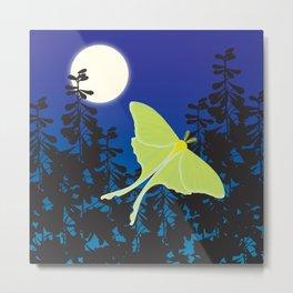 Luna Moth and Full Moon Metal Print