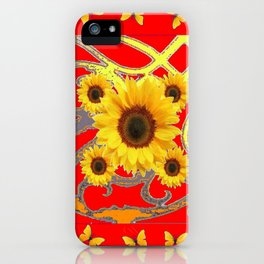 SUNFLOWER RED MODERN ART YELLOW BUTTERFLIES ABSTRACT iPhone Case