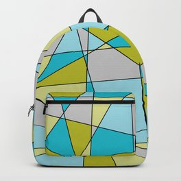 Triangle Line Pattern in Teal, Green & Grey Backpack