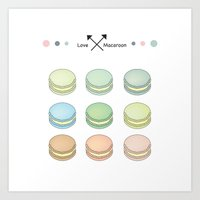 macaroon Art Prints featuring Macaroon sweet love by MiartDesignCreation