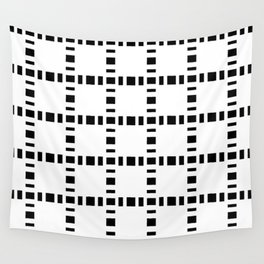 square and tartan 8 black and white Wall Tapestry