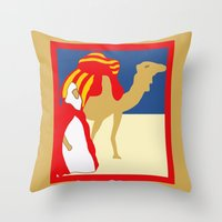 casablanca Throw Pillows featuring Vintage style 1920s Casablanca travel advertising by aapshop