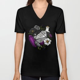 Pride Asexual D20 Tabletop RPG Gaming Dice Unisex V-Neck
