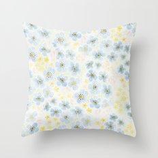 Blue Fields. Fictional Flowers. Throw Pillow