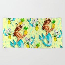 Tropical Pineapple Mermaid with Merkitties Beach Towel