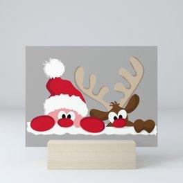 Santa & Reindeer Mini Art Print