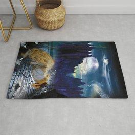 Paper boats dark feelings surrealism digital art Rug