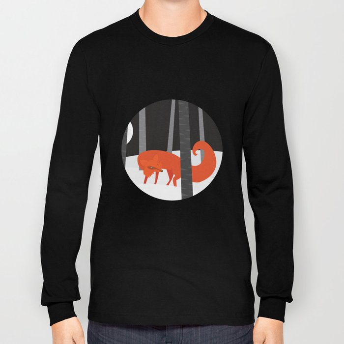 Winter Fox Vertical Long Sleeve T-shirt