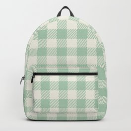 Gingham Mint Green and White Seamless Pattern Backpack