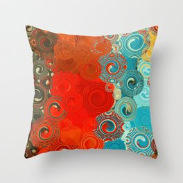 Turquoise and Red Swirls Deko-Kissen