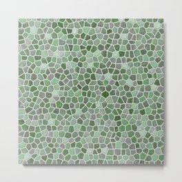 Mint Green Faux Mosaic Metal Print
