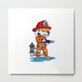 Firefigher Dog Dalmatian Fire Department Present Gift Cartoon Brigade Metal Print