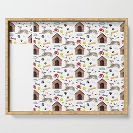 Italian Greyhound Half Drop Repeat Pattern Serving Tray
