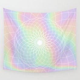 Sacred Geometric Holographic Circular Modern Floral Art, Retro Pastel Rainbow Hologram  Wall Tapestry