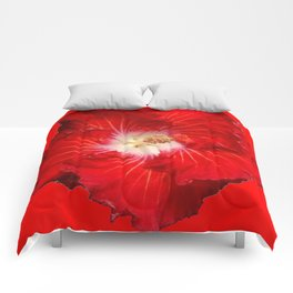 DECORATIVE RED & WHITE HIBISCUS FLOWER Comforters