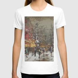 Le Moulin Caberet Sous la Neige, Paris, France by Eugene Galien Laloue T-shirt