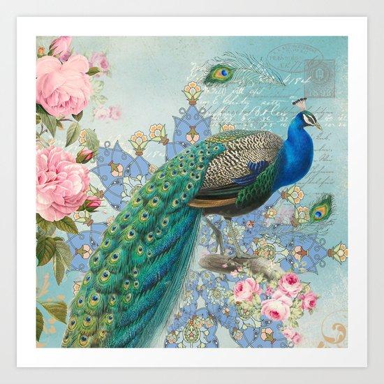 Peacock & Pink Roses #2 Art Print
