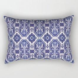 Portuguese Tiles Azulejos Blue White Pattern Rectangular Pillow