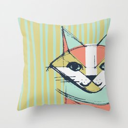 Cubist Cat Study #10 by Friztin Throw Pillow