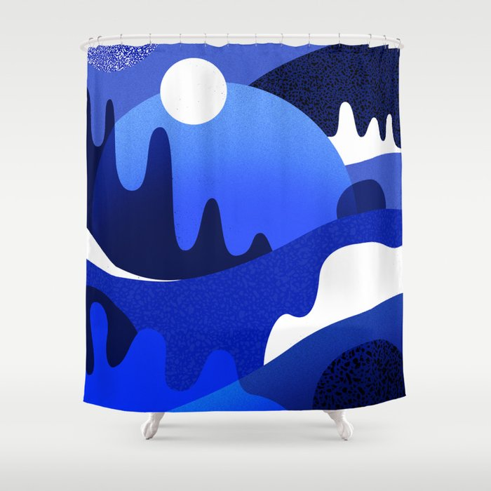 Terrazzo landscape blue night Shower Curtain