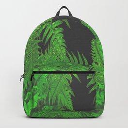 DECORATIVE CHARCOAL GREY GREEN FERNS GARDEN ART Backpack
