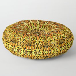 Floral Autumn Garden Mandala Floor Pillow