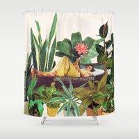 beth hoeckel Shower Curtains featuring TERRARIUM by Beth Hoeckel