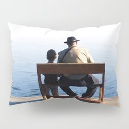 Grandson and Grandfather fishing on the end of a Boat Pillow Sham