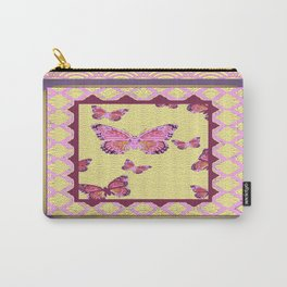 Pink Butterflies Puce-cream Asian Pattern Art Carry-All Pouch