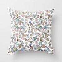 bears Throw Pillows featuring Bears by Hannah Drossman