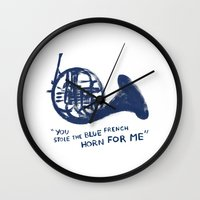 how i met your mother Wall Clocks featuring How I Met Your Mother - Blue French Horn by Victoria Schiariti