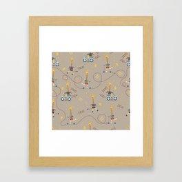 cool giraffe beige background Framed Art Print