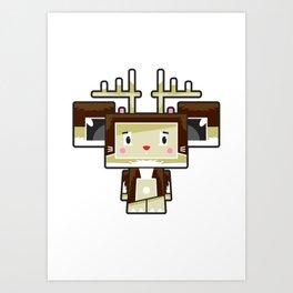 Cute Cartoon Blockimals Reindeer Art Print