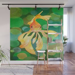 Vermilion Goldfish Swimming In Green Sea of Bubbles Wall Mural