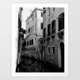 Venetian canal in black and white Art Print