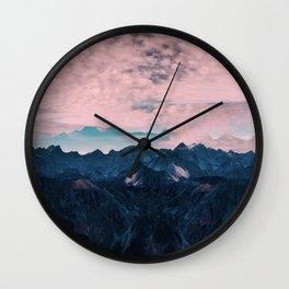 Pastel mountain mood Wall Clock