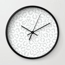 Elegant White Gray Leopard Cheetah Animal Print Wall Clock