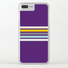 Lilac Retro Stripes Clear iPhone Case