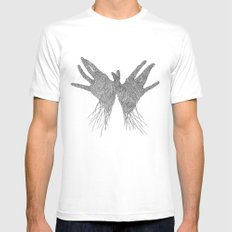My Hands MEDIUM White Mens Fitted Tee