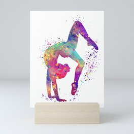 Girl Gymnastics Tumbling Watercolor Mini Art Print